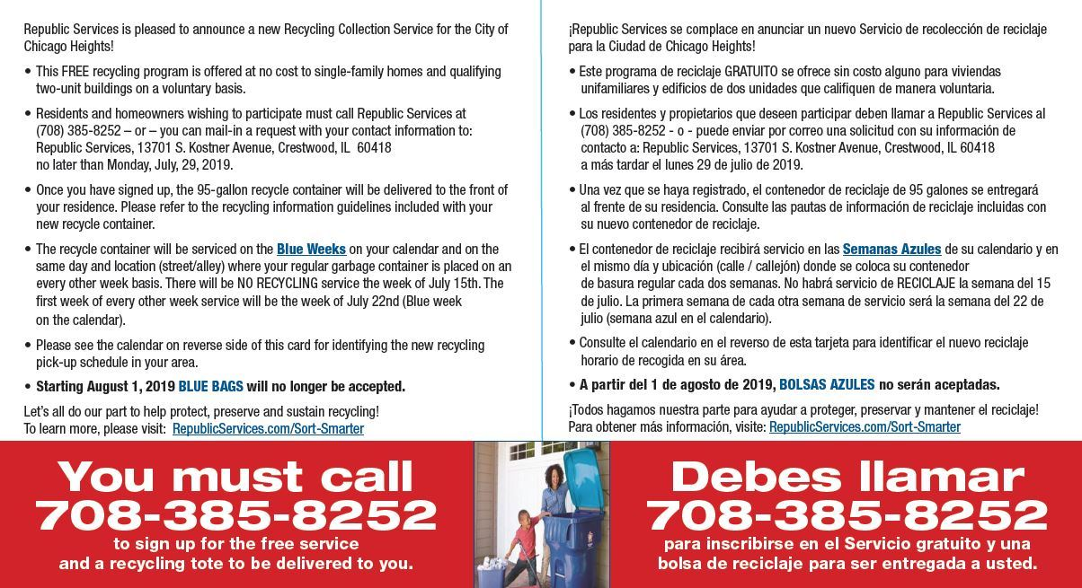 New Recycling Collection Service begins late July 2019 English and Spanish