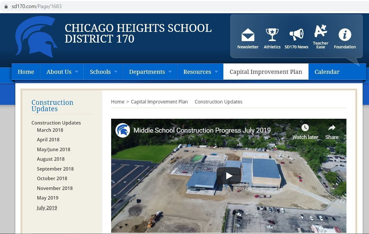 Chicago Heights SD 170 New Middle School Construction Update July 2019