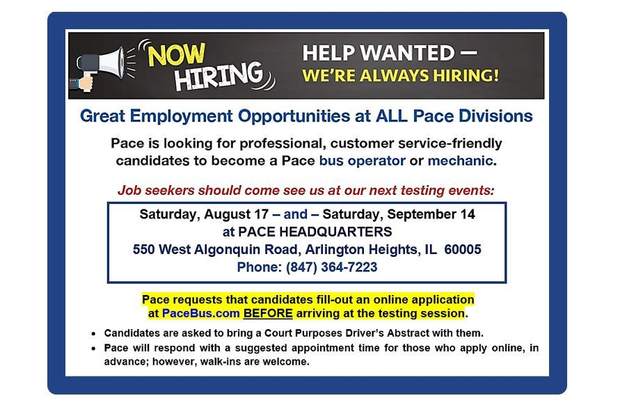 Flyer - Pace Bus Hiring Event August 17 and September 14 2019