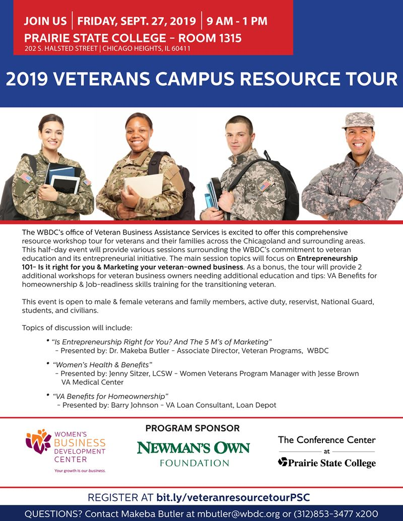 Flyer - Veterans Fall Campus Tour at Prairie State College - Friday, 09-27-19