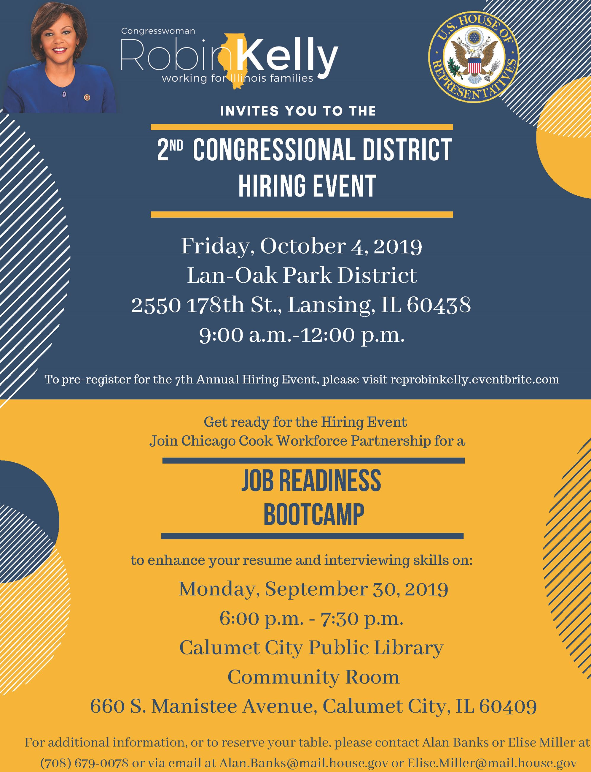 Flyer - Congresswoman Robin Kelly hiring event