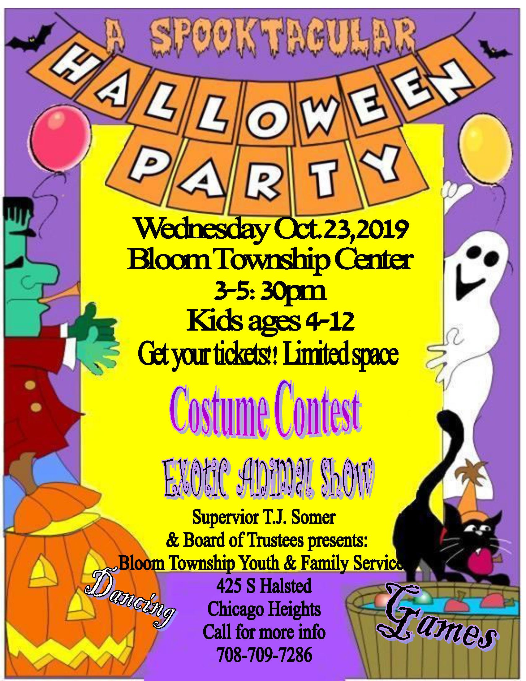 Flyer - Bloom Township Center - Halloween Dance Event