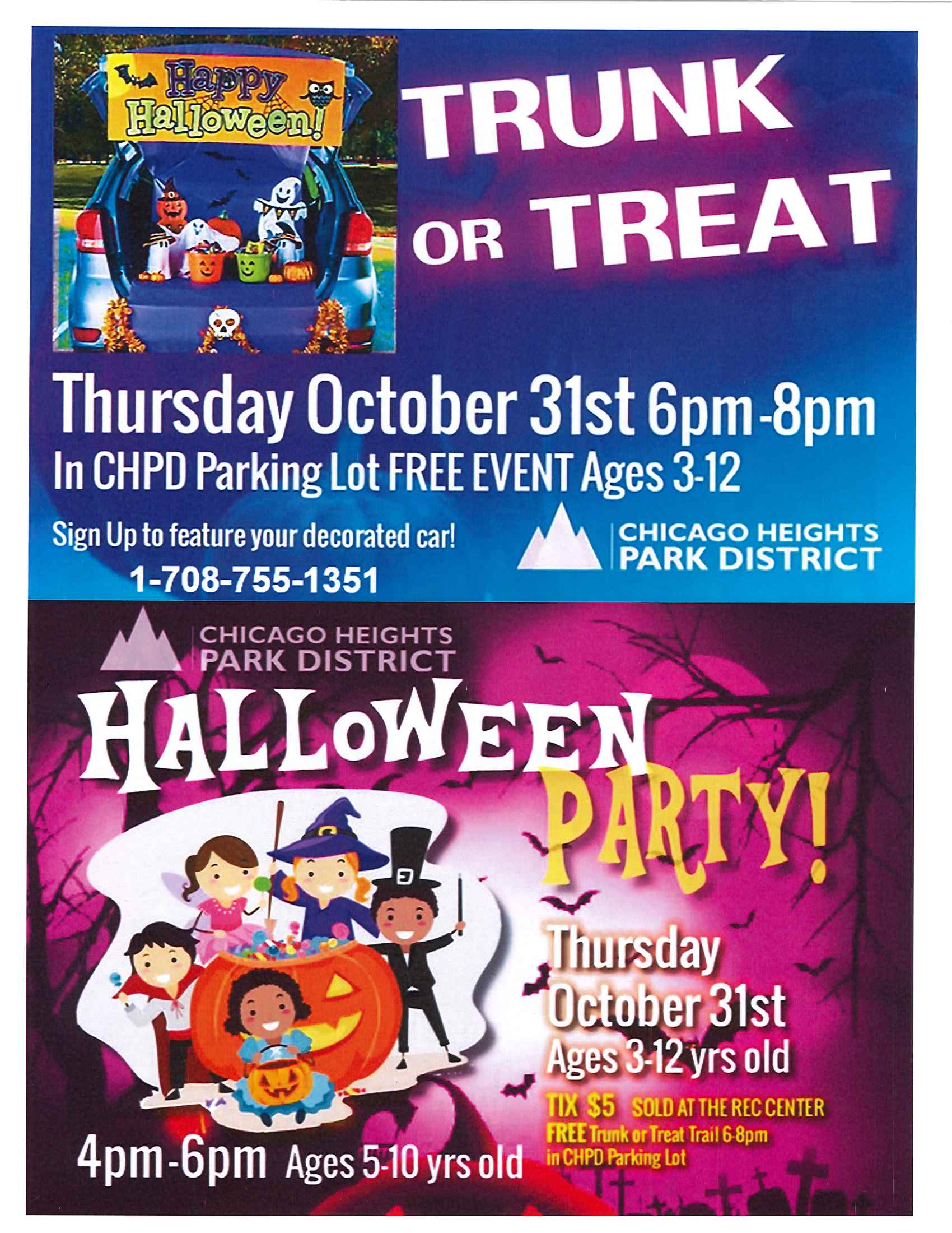 C.H. Park District Trunk or Treat Event and Halloween Party - Thur., Oct. 31, 2019