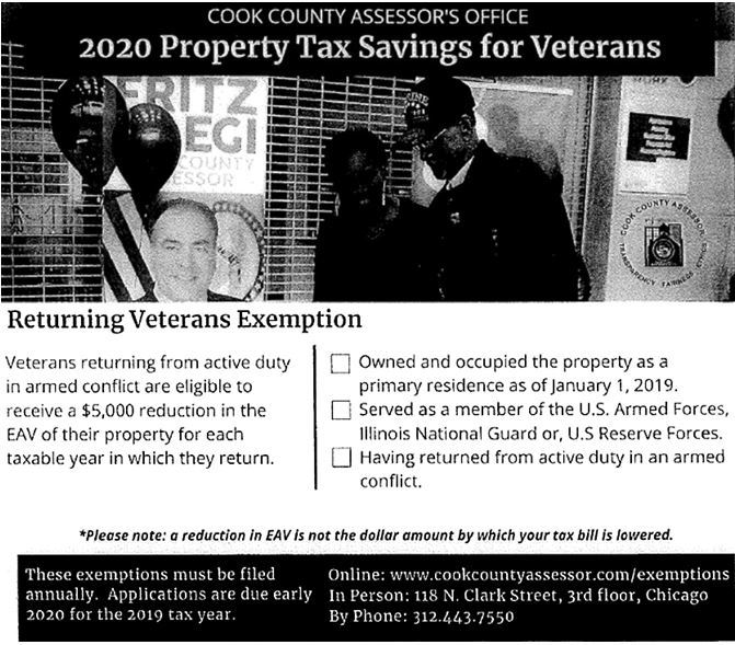 Veteran Resources - Cook County Assesors Office - 2020 Property Tax Exemption Savings for Returning