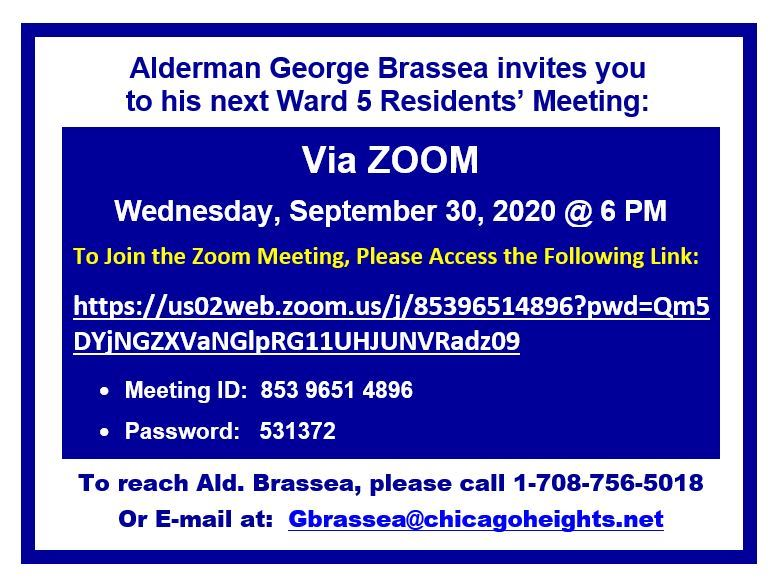Ward 5 Residents Meeting via Zoom - Wed., Sept. 30th at 6p