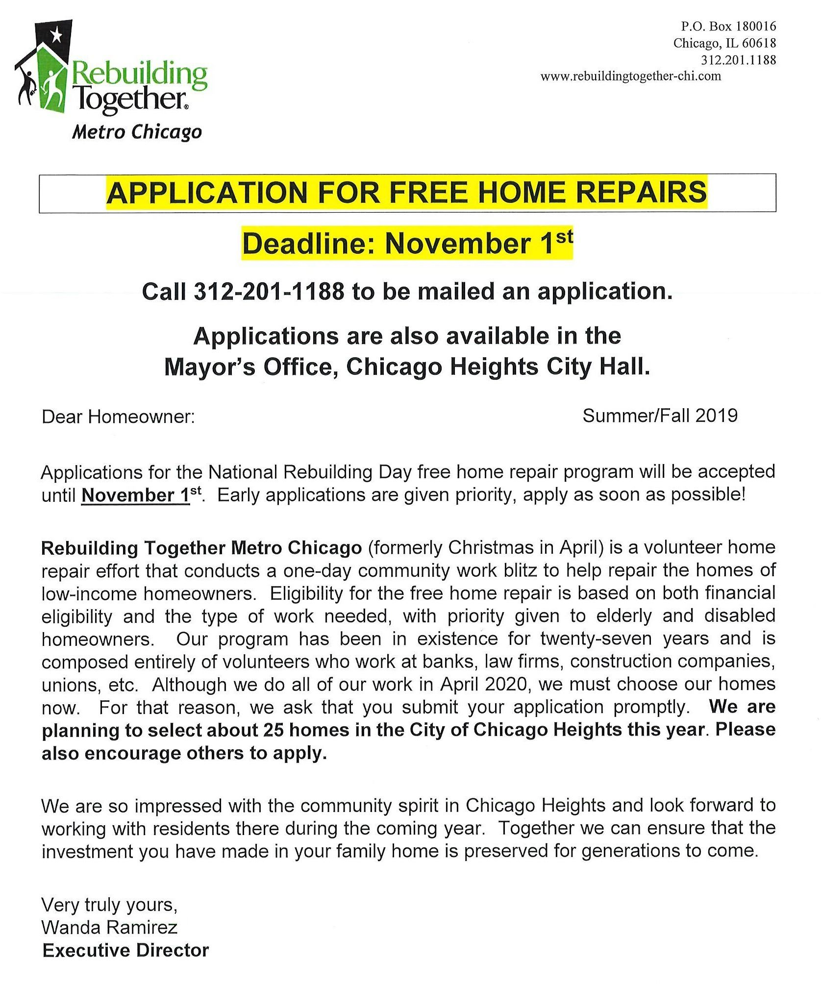 Flyer - Rebuilding Together Metro Chicago - Letter in English - Reminder to Apply
