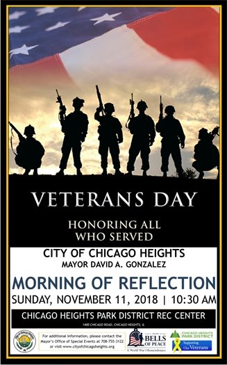 Veterans Day Morning of Reflection, November 11 at the Chicago Heights Rec Center