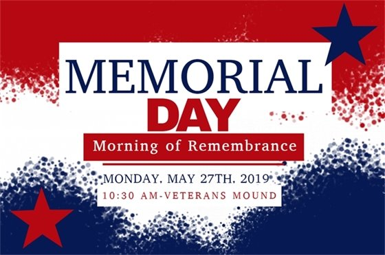 Memorial Day Morning of Remembrance Monday, May 27th 2019