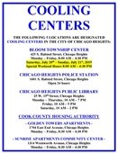 List of Designated Cooling Centers in the City of Chicago Heights