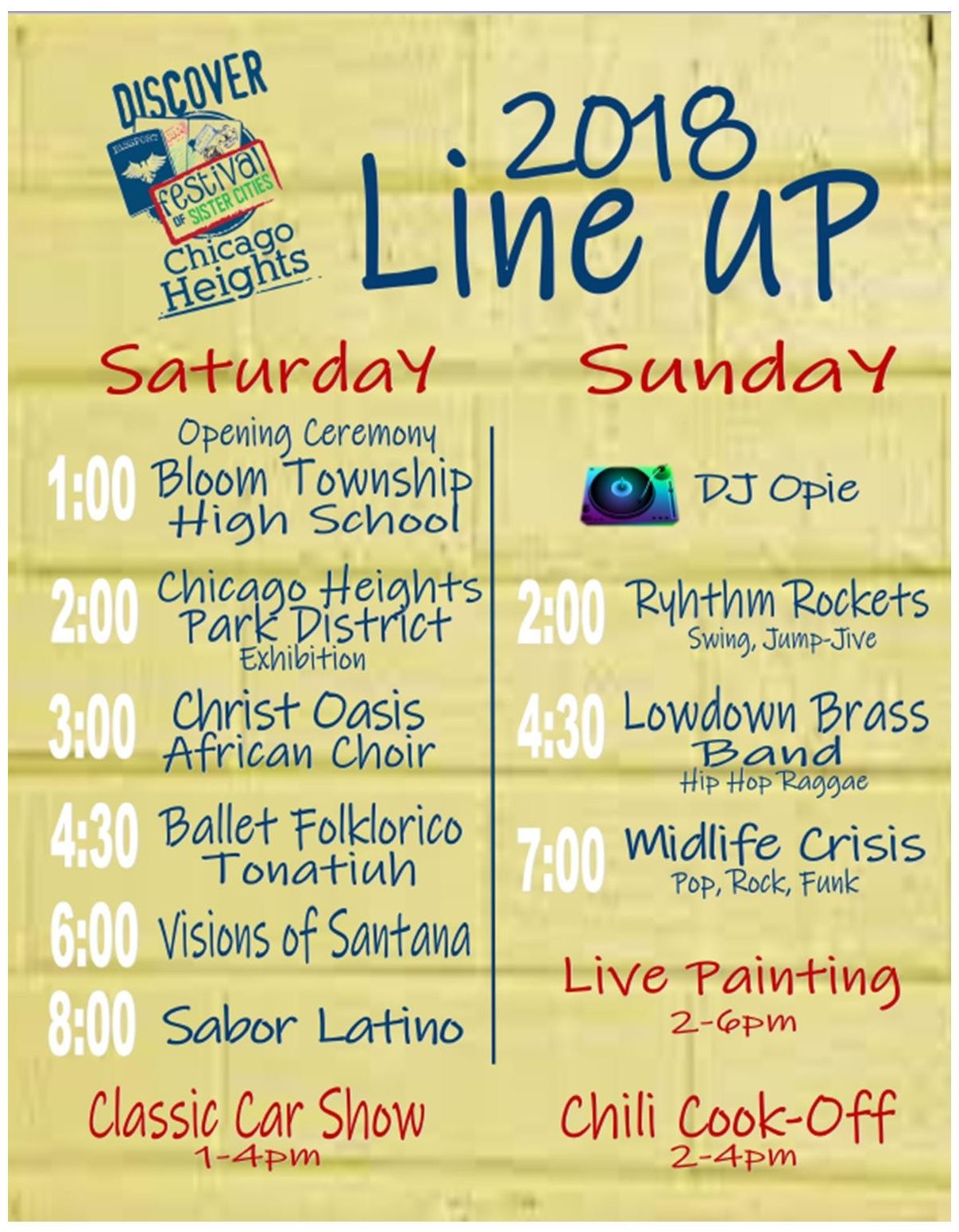 Entertainment Schedule | Chicago Heights, IL