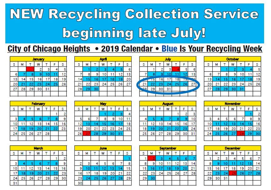 New Recycling Collection Service begins late July 2019 Calendar