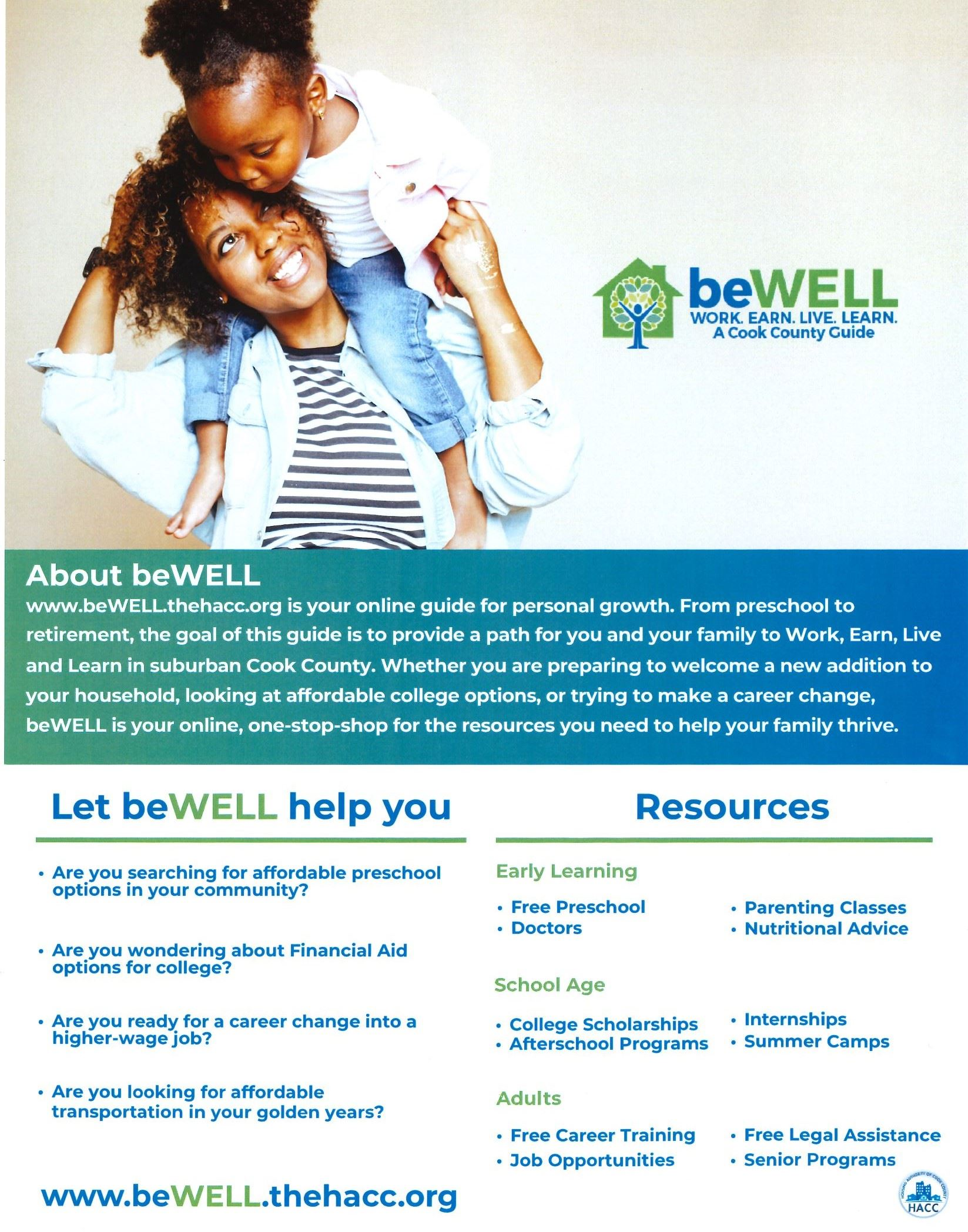 Flyer - Be Well Program from the Housing Authority of Cook County