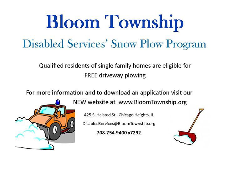 Flyer - Bloom Township Center - Snow Removal Program