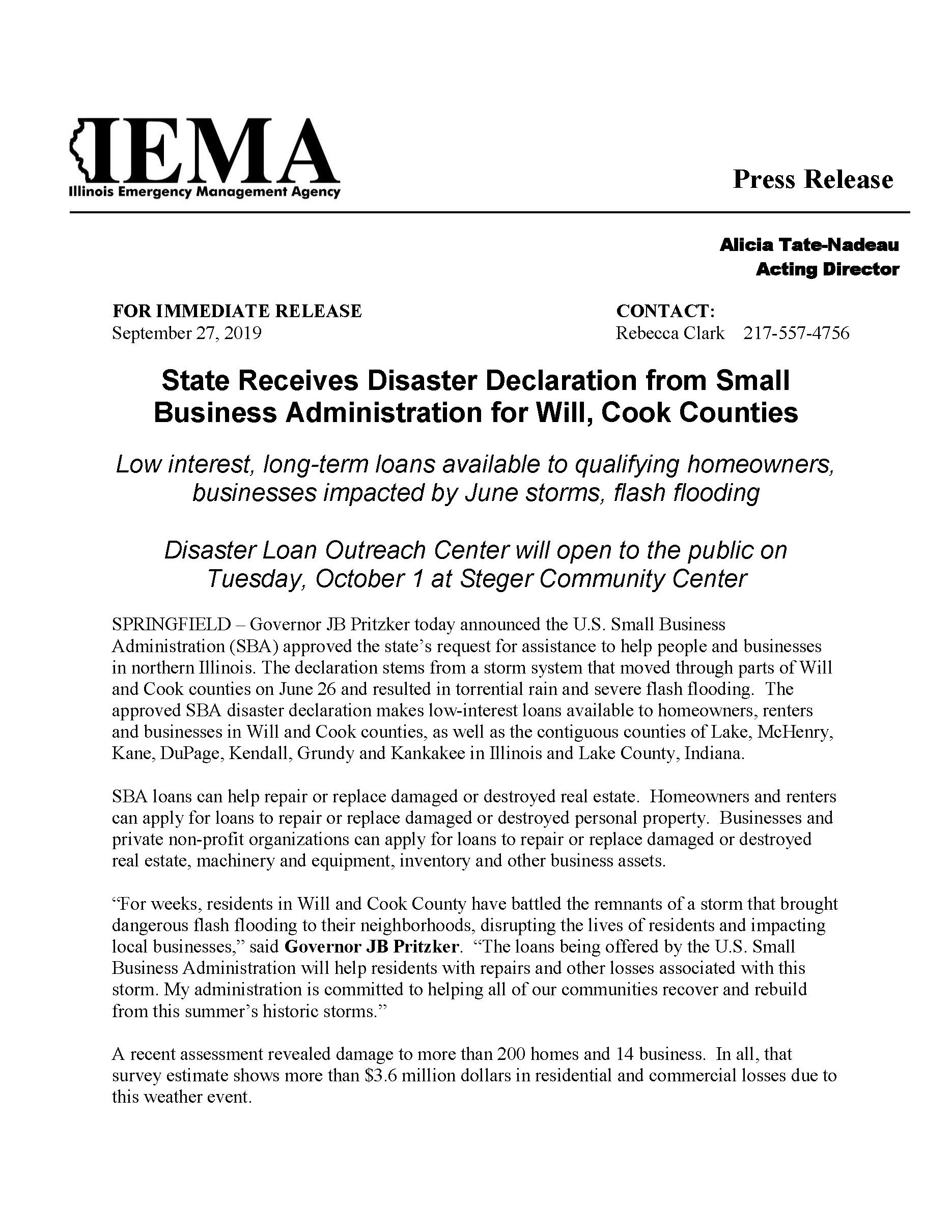 2019 - FEMA Disaster Declaration Small Business Administration Loans for Cook County_Page_1