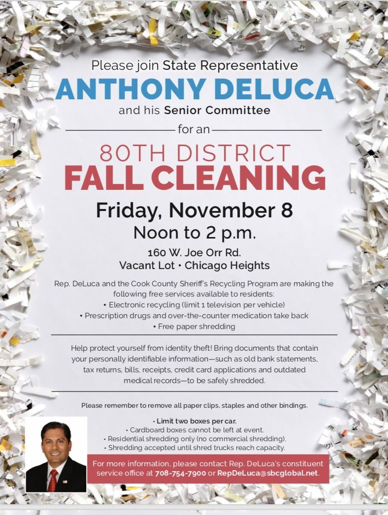 2019 - Flyer - State Rep. De Luca sponsoring 80th District Fall Cleaning on Friday, 11-08-19