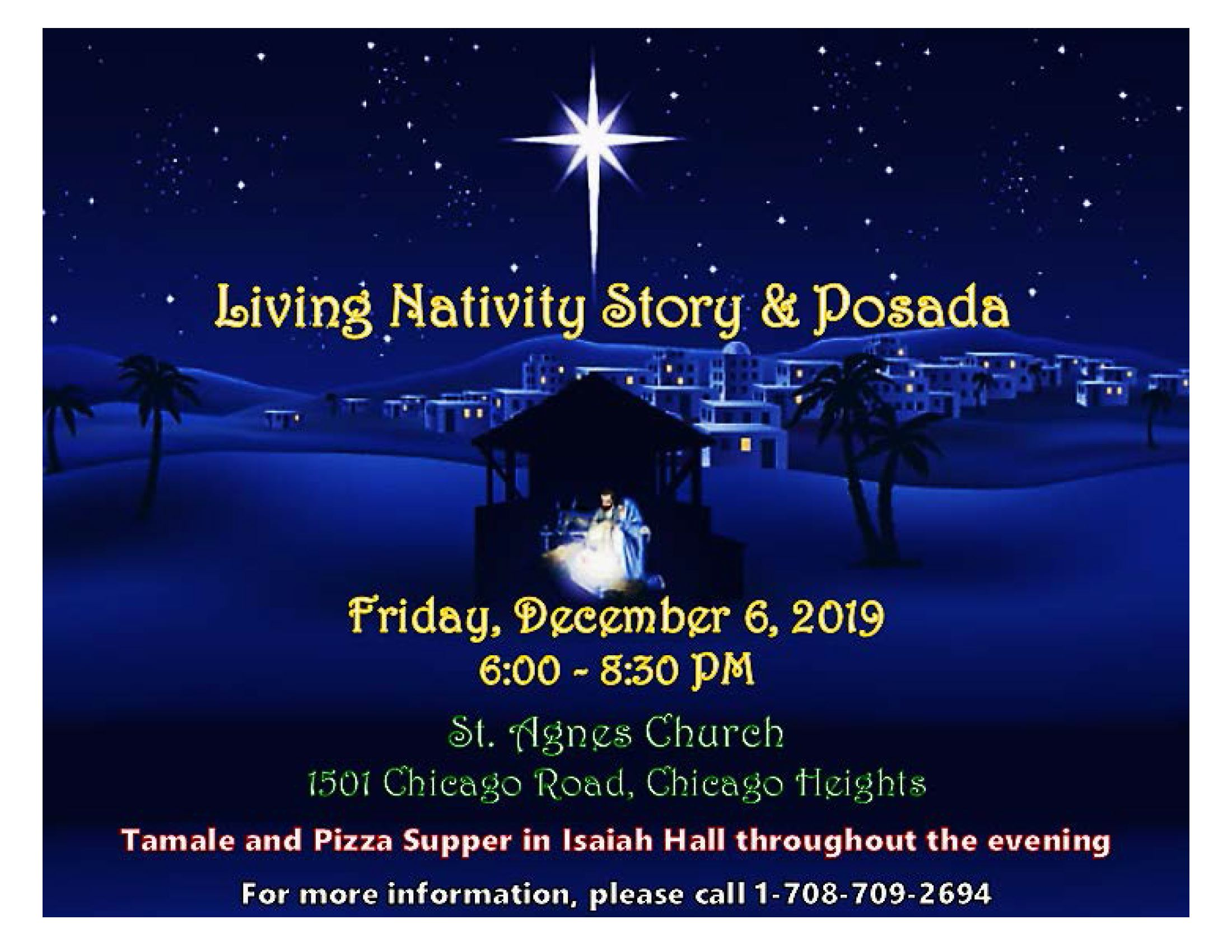 Annual Living Nativity Story - St. Agnes Church - Friday, December 6, 2019