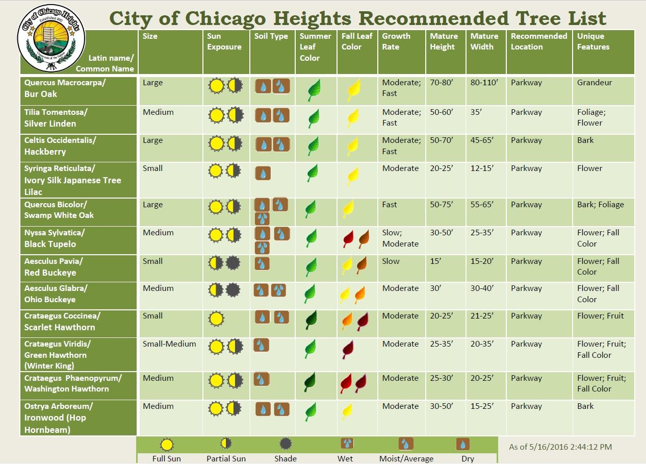 Recommended Tree List