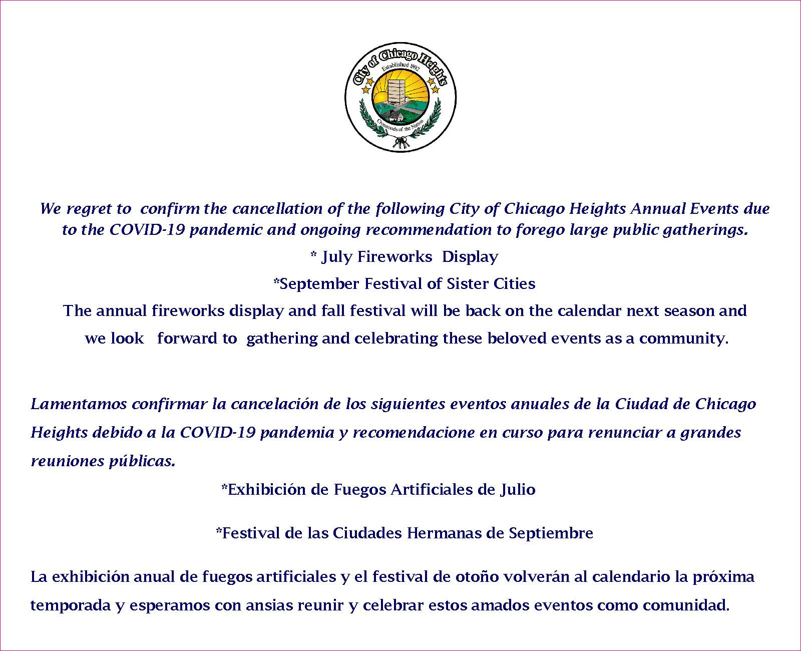 Summer Events Cancelled