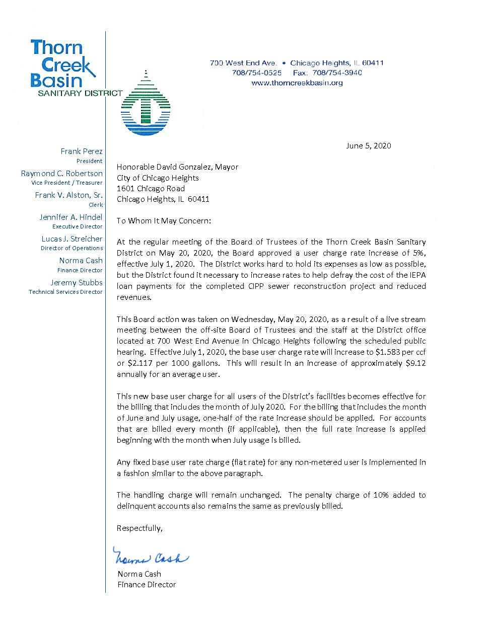 Thorn Creek Basin Letter