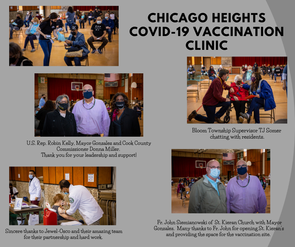 Chicago Heights COVID-19 Vaccination Clinic Collage